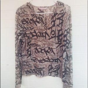 Victorias Secret black gray see through mesh top